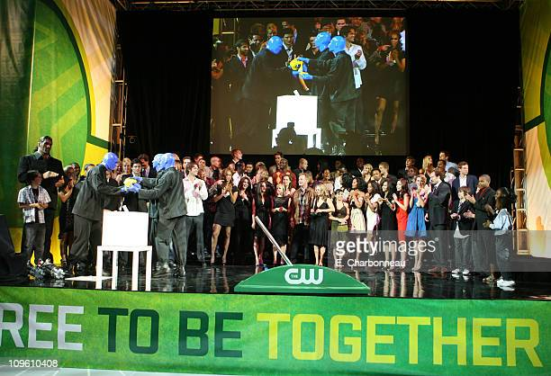 Blue Man Group and The CW Cast during The CW Launch Party Inside at WB Main Lot in Burbank California United States