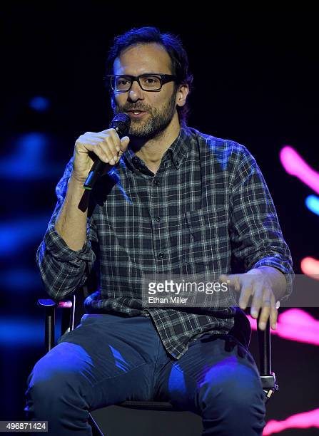 Blue Man Group creative director Jeff Turlik speaks inside the new Blue Man Theater to celebrate the launch of a new show at the Luxor Hotel and...