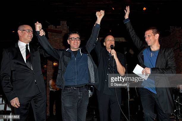 Blue Man Group founder Phil Stanton actor/comedian Fred Armisen Blue Man Group founders Chris Wink and Matt Goldman attend the Blue Man Group's 20th...
