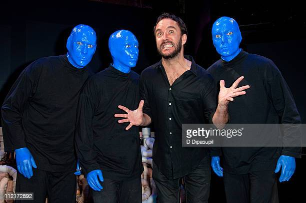 Blue Man Group founders Phil Stanton, Matt Goldman, musician Dave Matthews, and Blue Man Group founder Chris Wink attend the Blue Man Group's 20th...