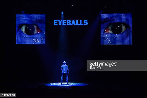 Blue Man Group members Benjamin Forster Brian Tavener and Russell Rinker perform at the Queen Elizabeth Theatre on March 25 2014 in Vancouver Canada