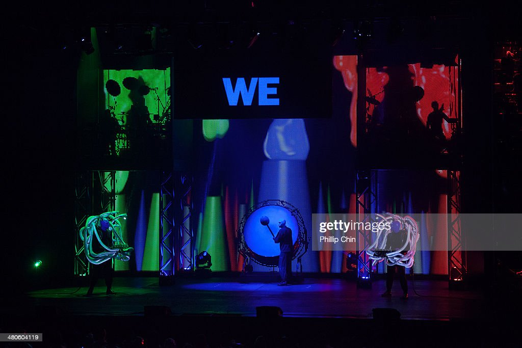 Blue Man Group members Benjamin Forster, Brian Tavener and Russell Rinker perform at the Queen Elizabeth Theatre on March 25, 2014 in Vancouver, Canada.