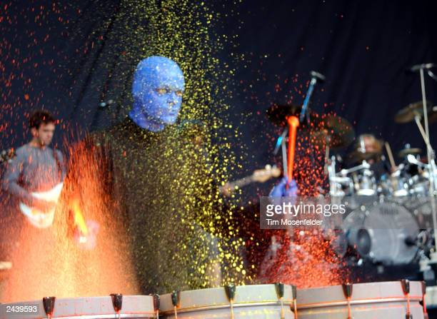 Blue Man Group performing at Area 2 in Mountain View Calif on August 14th 2002 Photo by Tim Mosenfelder/Getty Images