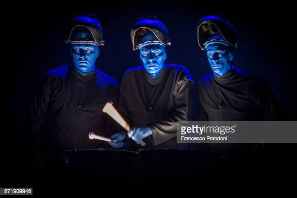Blue Man Group performs on stage on November 8 2017 in Milan Italy
