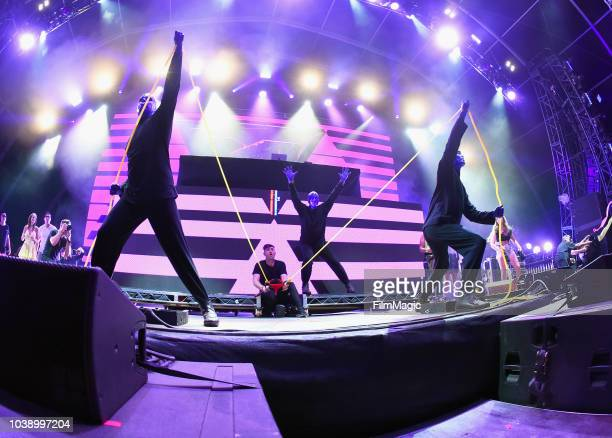 Blue Man Group performs with 3LAU on Fremont Stage during the 2018 Life Is Beautiful Festival on September 23 2018 in Las Vegas Nevada