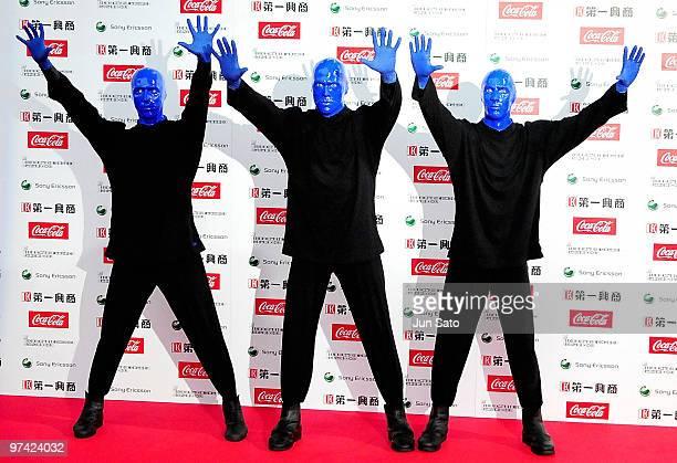Blue Man Group pose on the red carpet during the MTV Video Music Awards Japan 2009 at Saitama Super Arena on May 30 2009 in Saitama Japan