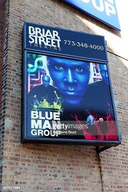 Blue Man Group signage at the Briar Street Theatre on October 26 2014 in Chicago Illinois