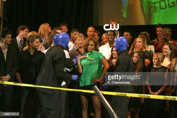 Blue Man Group Tyra Banks and The CW Cast during The CW Launch Party Inside at WB Main Lot in Burbank California United States