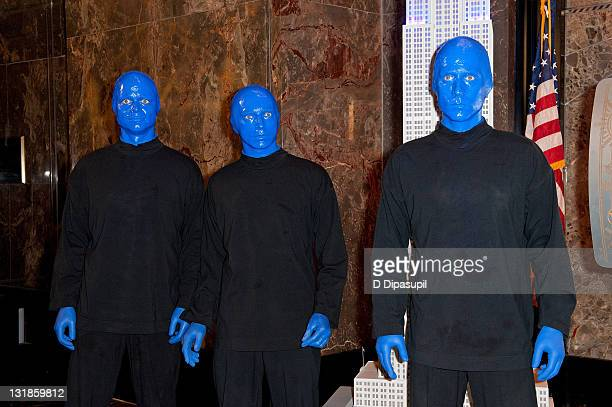 Blue Man Group visits The Empire State Building on April 13 2011 in New York City