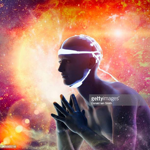 blue man in orange cyberspace - telepathy stock pictures, royalty-free photos & images