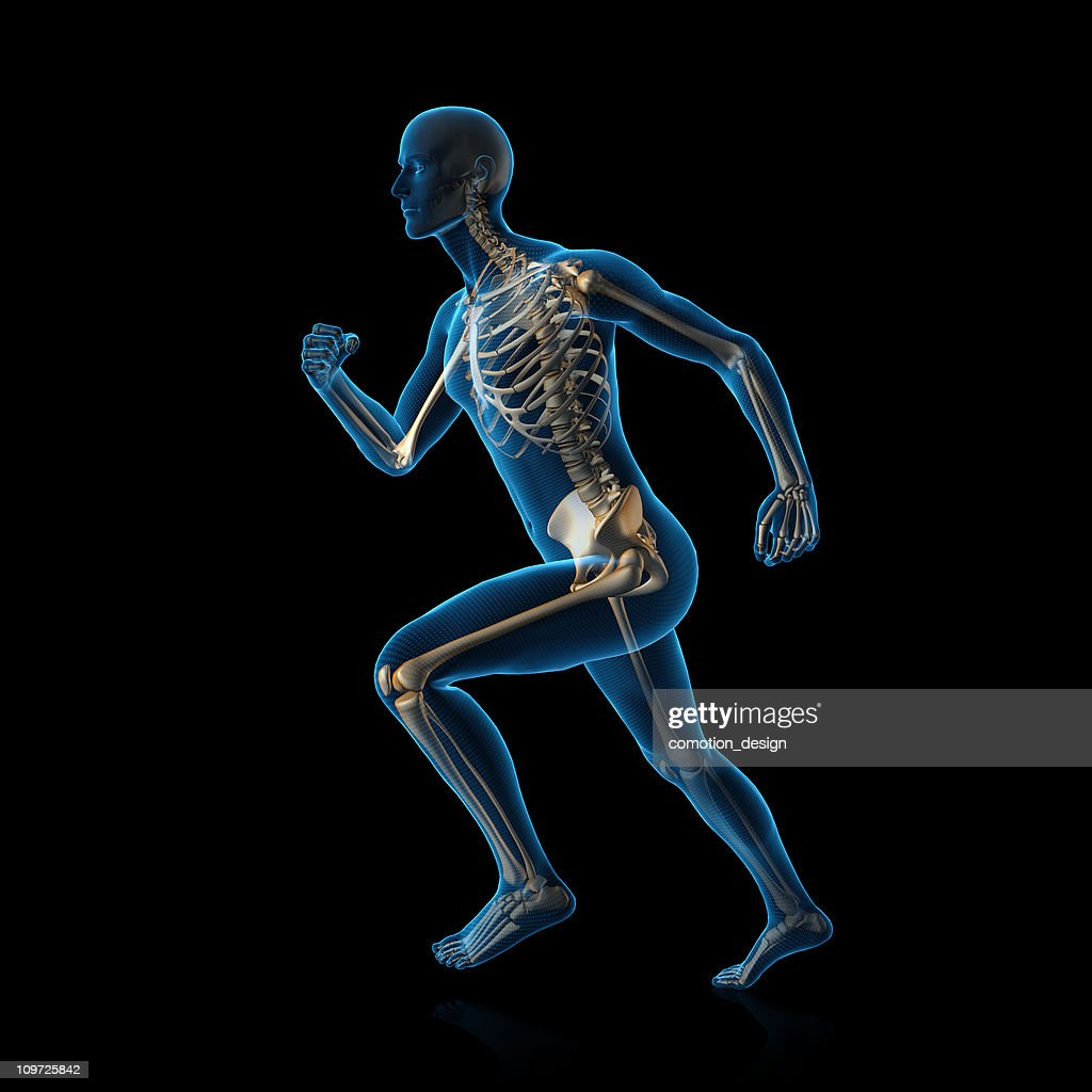 Blue man running : Stock Photo