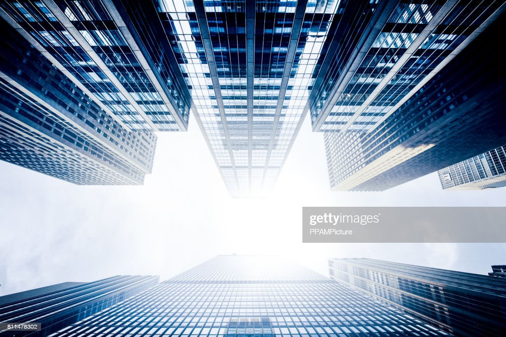 Blue Manhattan Skyscapers Wall Street Financial District New York City : Stock Photo