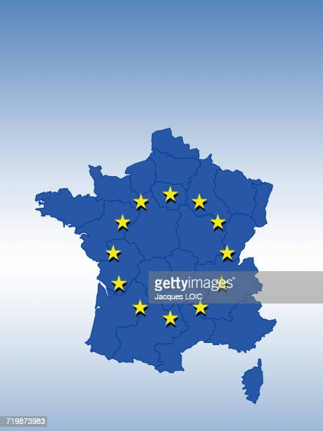 Blue map of France, stars of the European Union on it.
