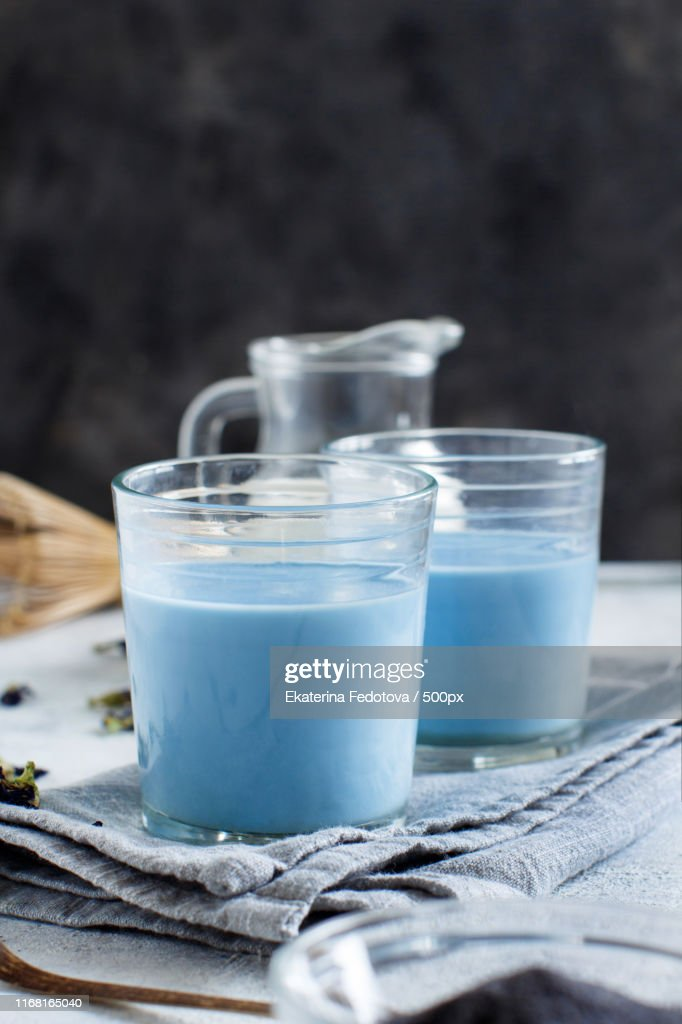 Blue Matcha Milk : Stock Photo