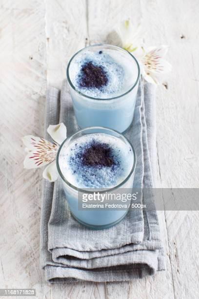 blue matcha milk - clitoria bildbanksfoton och bilder