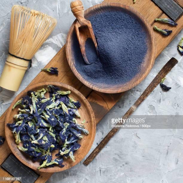 blue matcha powder - clitoria bildbanksfoton och bilder