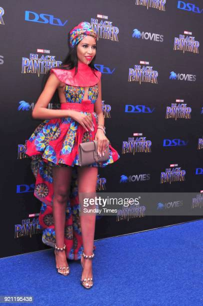 Blue Mbombo during the Black Panther movie premiere at Montecasino on February 16 2018 in Fourways South Africa Your culture in South Africa...