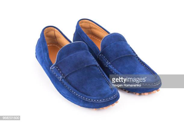 blue mens suede leather loafers pair isolated on white background - suede shoe stock pictures, royalty-free photos & images