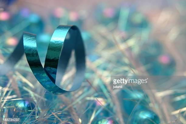 blue metallic ribbon - bow loop garland