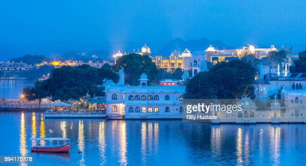 Blue morning dawn sunlight reflects off Lake Pichola, on the banks of Udaipur city, in the Indian state of Rajasthan, is an artificial fresh water lake, created in the year 1362 AD.