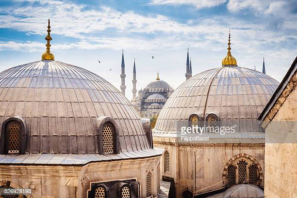 blue mosque and aya sofya, istanbul - mosque stock pictures, royalty-free photos & images