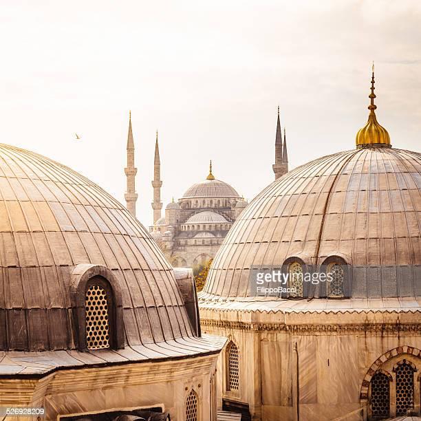 santa sofia e la moschea blu, istanbul - hagia sophia istanbul foto e immagini stock