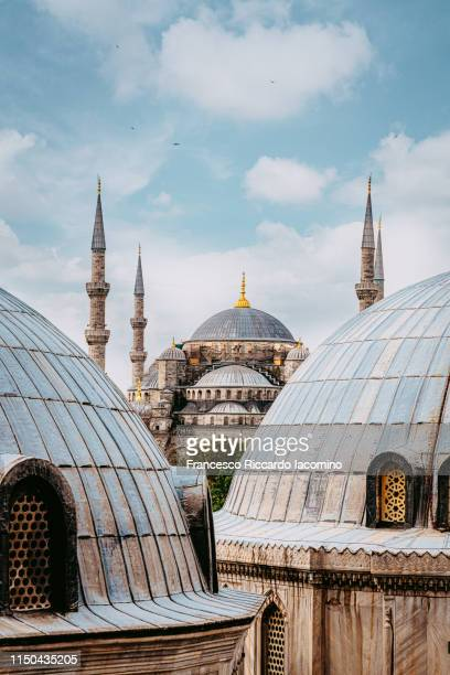 blue mosque as seen from hagia sofia, istanbul, turkey - istanbul stock pictures, royalty-free photos & images