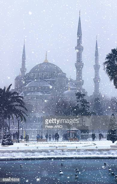 Blue Mosque in winter season at Istanbul,Turkey
