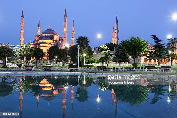 Blue mosque reflected on water in Istanbul in turkey