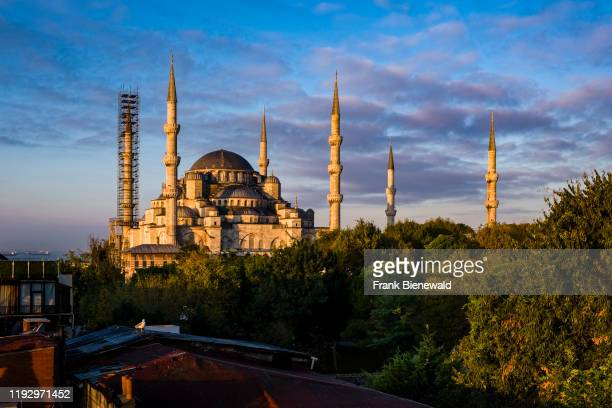 Blue Mosque Sultan Ahmed Mosque Sultan Ahmet Camii with a minaret surrounded by scaffolding