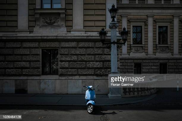 A blue motorcycle is pictured on August 31 2018 in Vienne Austria