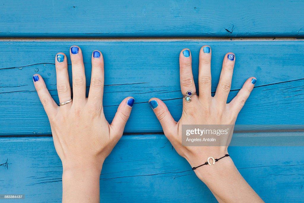Blue nails : Stock Photo