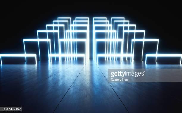 blue neon abstract background - stage performance space stock-fotos und bilder