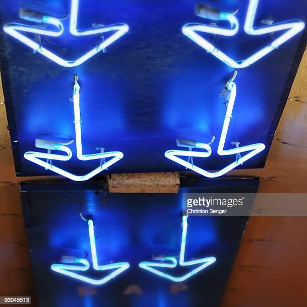 Blue Neon Arrows