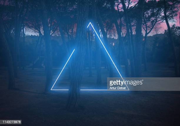 blue neon triangle light between pine trees with futuristic visual effect. - perfection stock pictures, royalty-free photos & images
