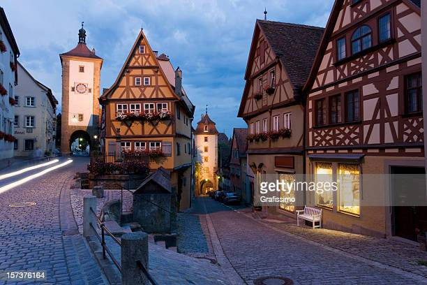 Blue night over german city of Rothenburg