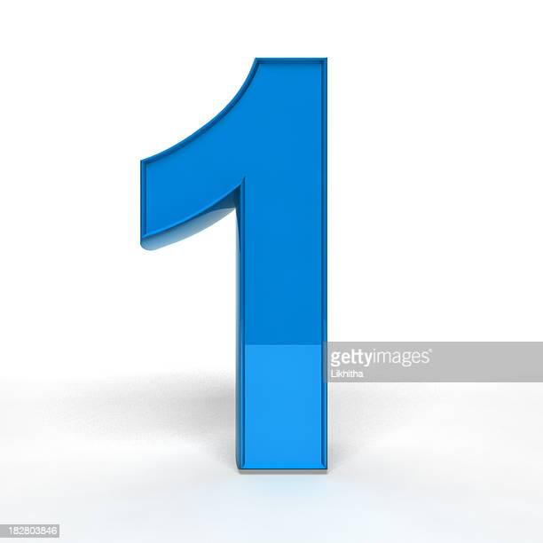A blue number one on a white background