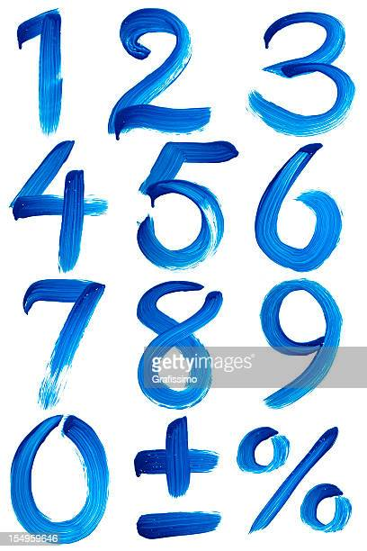 Blue numbers painted with paintbrush on window