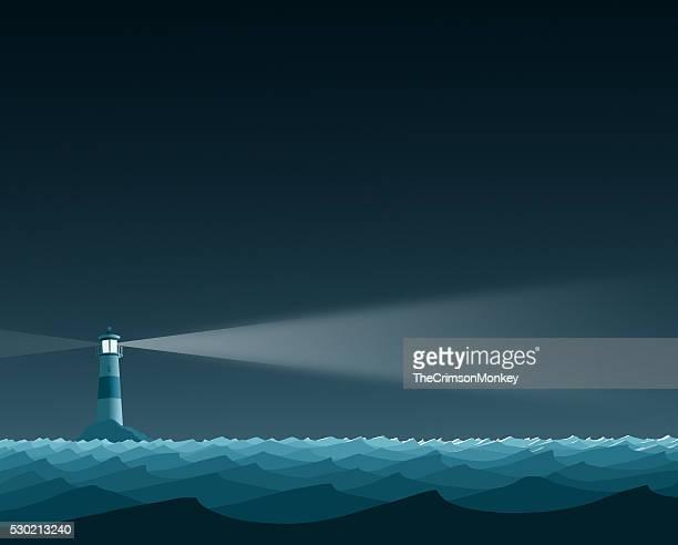 ブルーの海の灯台フラットの風景