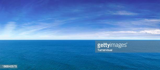 blue ocean view panorama - panoramic stock pictures, royalty-free photos & images