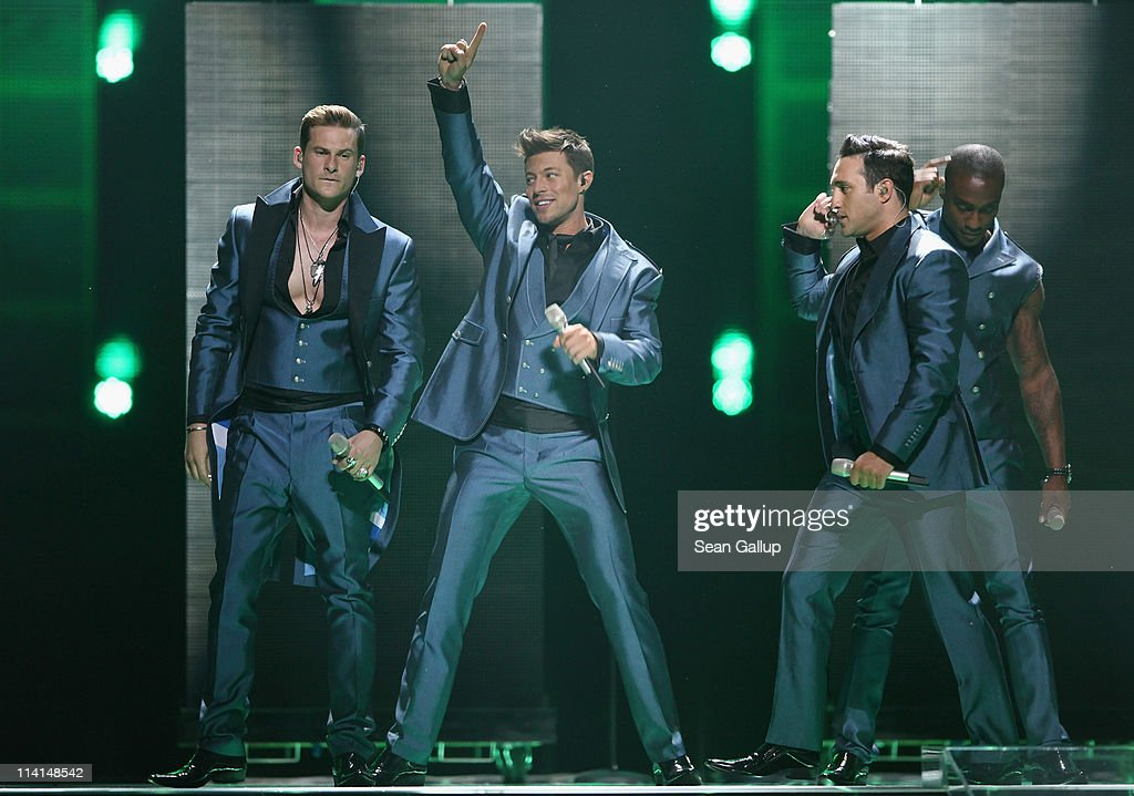 Blue of the United Kingdom perform during the dress rehearsal ahead of the finals of the 2011 Eurovision Song Contest on May 13, 2011 in Duesseldorf, Germany.