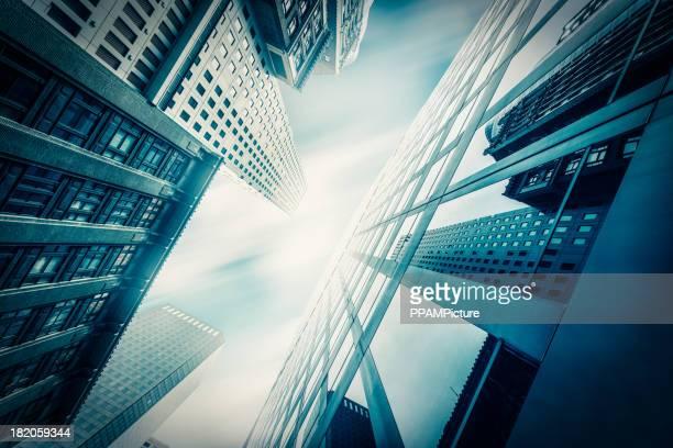 Azul escritório skysraper do sol