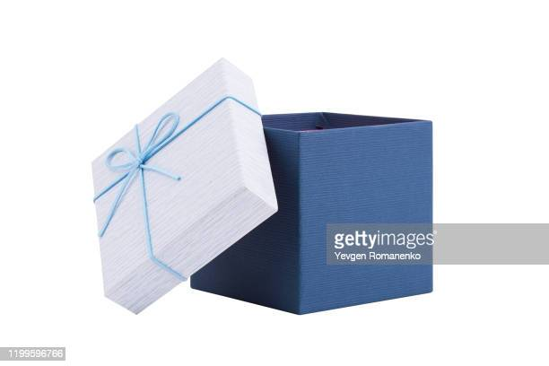 blue opened gift box isolated on white background - gift box stock pictures, royalty-free photos & images
