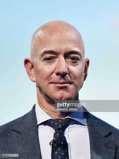 Blue Origin founder Jeff Bezos receives the 2019 International Astronautical Federation Excellence in Industry Award during the the 70th...