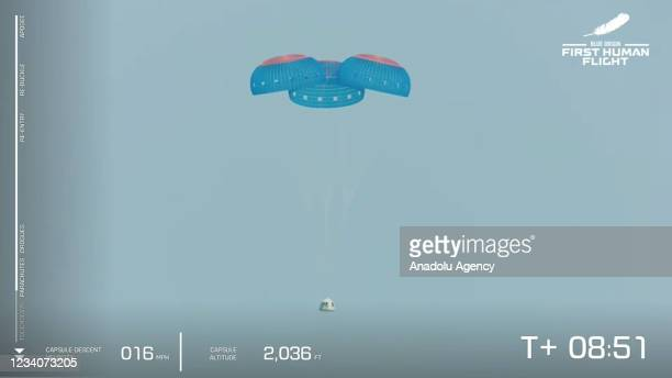 Blue Originâs New Shepard crew capsule descends on the end of its parachute system carrying Jeff Bezos along with his brother Mark Bezos, 18-year-old...