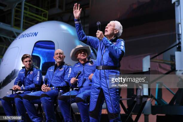 Blue Origin's New Shepard crew member Wally Funk speaks at a press conference along with other crew members Oliver Daemen, Mark Bezos and Jeff Bezos...