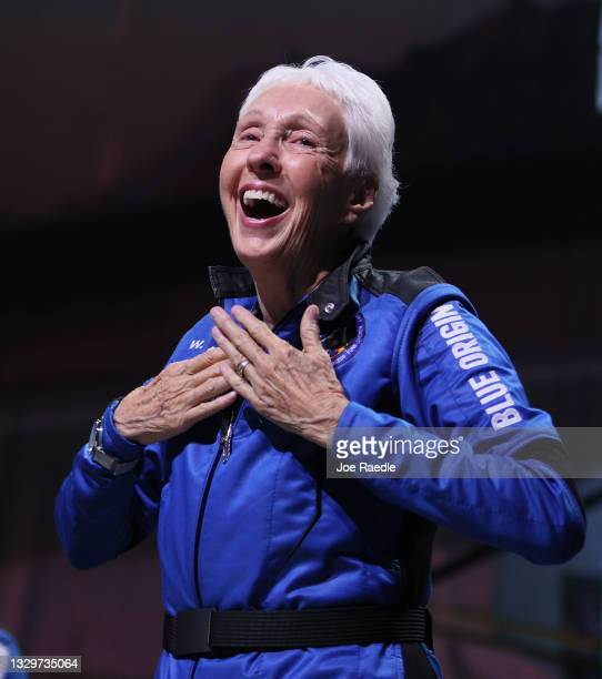 Blue Origin's New Shepard crew member Wally Funk speaks during a press conference after flying into space in the Blue Origin New Shepard rocket on...