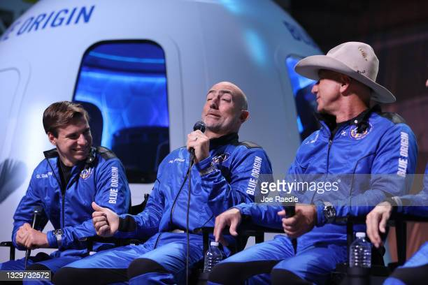 Blue Origin's New Shepard crew Oliver Daemen, Mark Bezos, and Jeff Bezos hold a press conference after flying into space in the Blue Origin New...