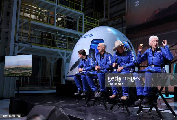 Blue Origin's New Shepard crew Oliver Daemen, Mark Bezos, Jeff Bezos, and Wally Funk hold a press conference after flying into space in the Blue...