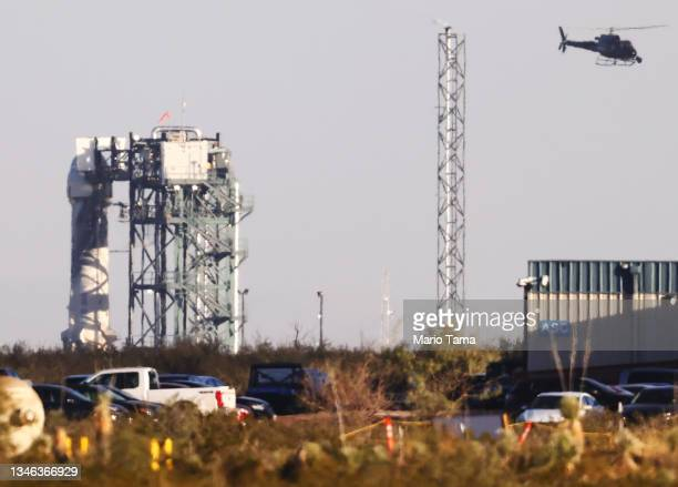 Blue Origin's New Shepard sits on the launch pad prior to lift off carrying 90-year-old Star Trek actor William Shatner and three other civilians on...